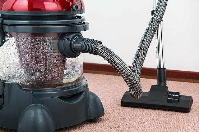 Wet Vac vacuuming up water on carpeting